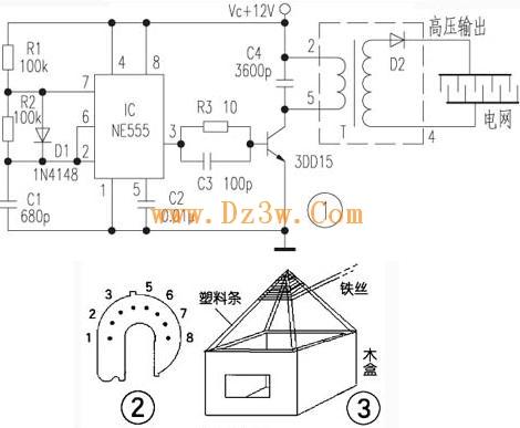 电视机的高压包代替,效果十分理想,高压包带有的硅堆正好用作本电路的